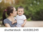 mother play enjoying with her... | Shutterstock . vector #610281245