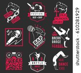 set of breakdance bboy... | Shutterstock . vector #610281929