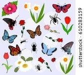 set of beautiful spring...   Shutterstock .eps vector #610283159
