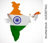 hanging india flag in form of...   Shutterstock .eps vector #610287461