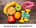 skipping rope  dumbbells and... | Shutterstock . vector #610289474