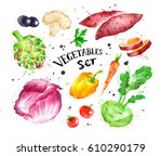 hand drawn watercolor colorful... | Shutterstock . vector #610290179