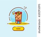 kebab food icons vector | Shutterstock .eps vector #610291091