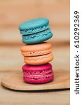 Macaron Sweet Dessert On Wood...