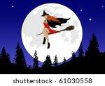 girl flying in front of a full... | Shutterstock . vector #61030558