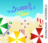 hello summer background top... | Shutterstock .eps vector #610308611