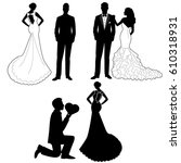 the bride and groom. the black... | Shutterstock .eps vector #610318931