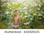 children thai farmer grow lotus ... | Shutterstock . vector #610320131