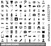 100 care icons set in simple...   Shutterstock .eps vector #610322759