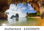 pranang cave beach  railay ... | Shutterstock . vector #610330694