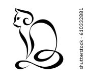 cat silhouette logo. continuous ... | Shutterstock .eps vector #610332881