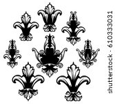 fleur de lis black and white... | Shutterstock .eps vector #610333031