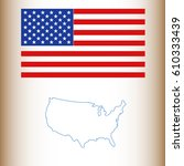 usa map with flag | Shutterstock .eps vector #610333439