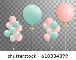 bunches of helium balloons... | Shutterstock .eps vector #610334399