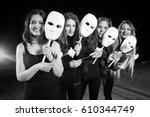 drama on stage in theater.... | Shutterstock . vector #610344749