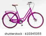 magenta women city bike | Shutterstock . vector #610345355
