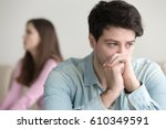 sad young man thinking over a...   Shutterstock . vector #610349591