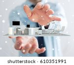 businessman on blurred... | Shutterstock . vector #610351991