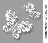 white  butterfly  swirl ...   Shutterstock . vector #610357709