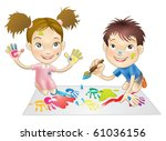 illustration of two young... | Shutterstock . vector #61036156