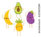 set of cute vegetables and...   Shutterstock .eps vector #610365284