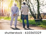view from behind of an adult... | Shutterstock . vector #610365329