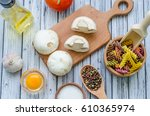 still life with pasta... | Shutterstock . vector #610365974
