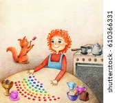 Stock photo  hands drawn picture of little boy standing at the table preparing candies and red cat plays with 610366331