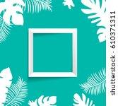tropic mock up square frame | Shutterstock .eps vector #610371311