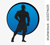 muscle man silhouette lifting... | Shutterstock .eps vector #610374635