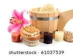 washtub with candles and flower ... | Shutterstock . vector #61037539