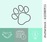 line icon  paw | Shutterstock .eps vector #610380911