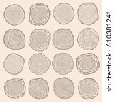 collection of vector tree rings ... | Shutterstock .eps vector #610381241