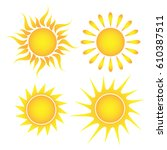 set of suns on a white... | Shutterstock .eps vector #610387511