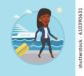 woman is going to voyage on... | Shutterstock .eps vector #610390631