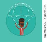 young man wearing virtual... | Shutterstock .eps vector #610391021