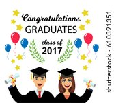 two happy cheerful graduates in ... | Shutterstock .eps vector #610391351