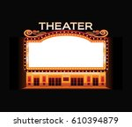 brightly theater glowing retro... | Shutterstock .eps vector #610394879