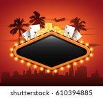 vegas casino neon sign in front ... | Shutterstock .eps vector #610394885