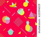summer seamless pattern with... | Shutterstock .eps vector #610396019