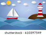 lighthouse and sailboat with... | Shutterstock .eps vector #610397549