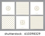 luxury retro labels cards with... | Shutterstock .eps vector #610398329
