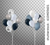 bunches of balloons isolated.... | Shutterstock .eps vector #610405601