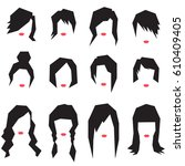 women hairstyle silhouettes.... | Shutterstock .eps vector #610409405