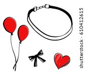 choker fashion illustration set....   Shutterstock .eps vector #610412615