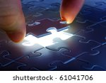 puzzle piece coming down into... | Shutterstock . vector #61041706