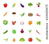 set of different vegetables... | Shutterstock .eps vector #610420475