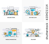 modern flat color line designed ... | Shutterstock .eps vector #610421114
