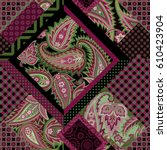 seamless patchwork pattern with ... | Shutterstock .eps vector #610423904