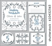 vector wedding collection.... | Shutterstock .eps vector #610432565
